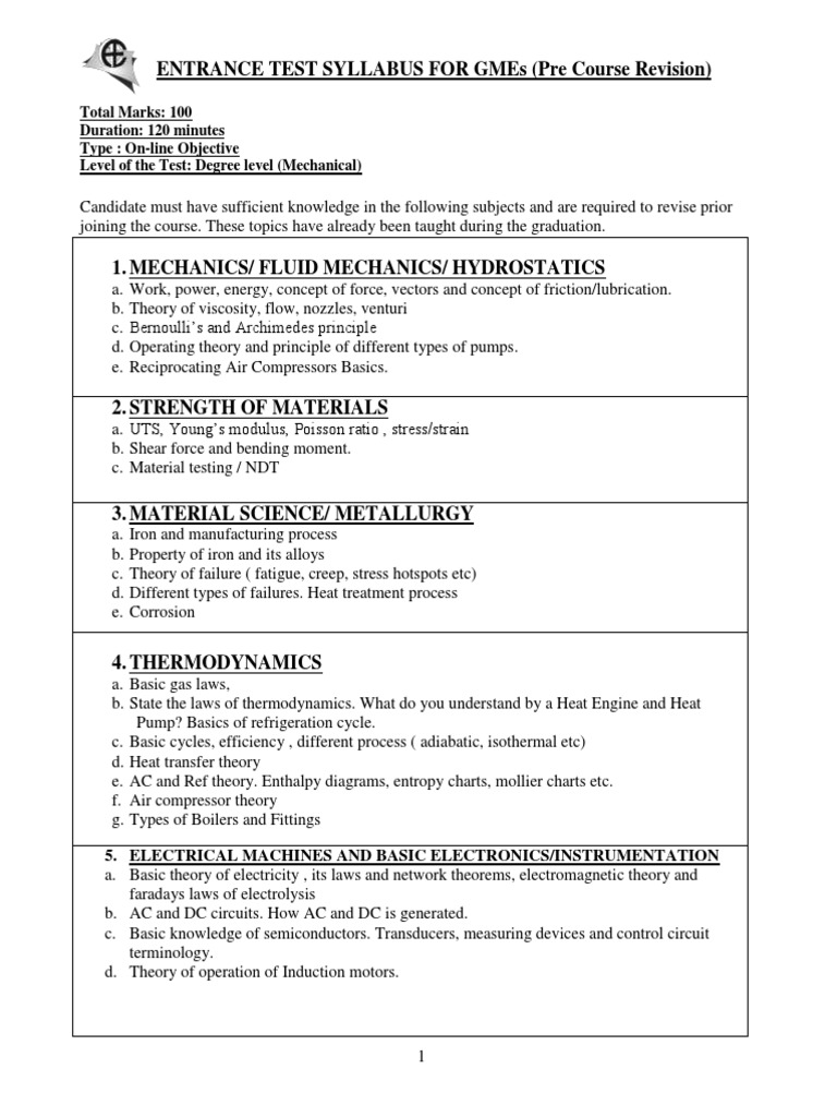 Entrance test syllabus for gmes new2 steel heat pooptronica Choice Image