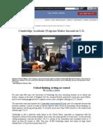 article - cambridge academic program makes inroads in u s  (education week)