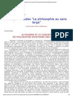 Althusser Et Le Concept de Philosophie Spontanée Des Savants
