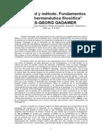 Hg Gadamer - Fundamentos de Una Hermenéutica Filosófica