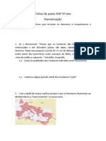 Fichas de Apoio HGP 5º Ano Romanizaçao