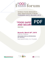 World Food Forum  Food Safety Expert meeting -  Programme 26 March