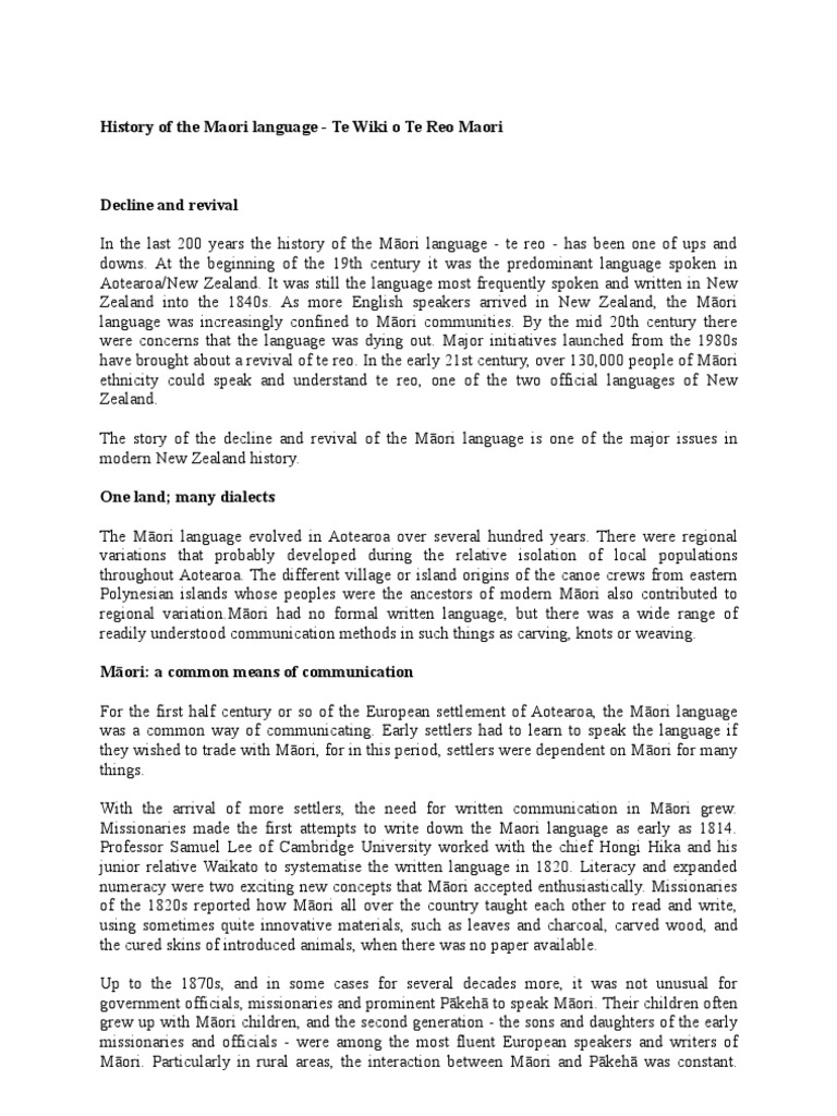 History Of The Maori Language Mori People New Zealand
