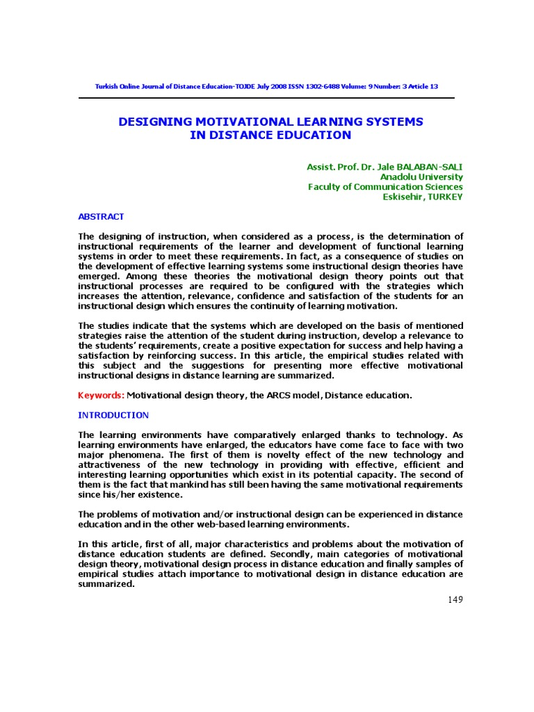 Motivational Design For Learning And Performance Instructional