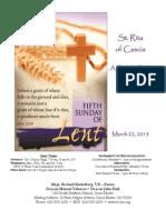 St. Rita Parish Bulletin 3/22/2015