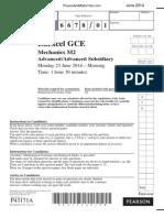 June 2014 QP - M2 Edexcel