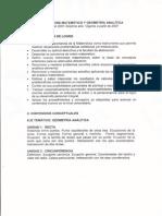 Analisis Matematico y Geometria Analitica