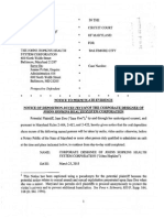 Deposition Notice to Johns Hopkins in Levy Case