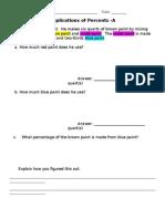 7th Grade Applications of Percents Task