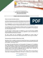 Compte Rendu Du Conseil Des Ministres - Mercredi 25 Mars 2015