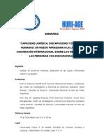 Programa Seminario Capacidad Jurídica, Discapacidad y Derechos Humanos Agustina Palacios y Bariffi