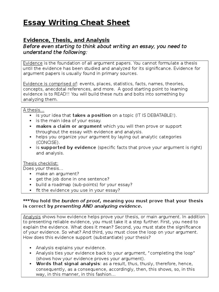 essay writing cheat sheet essays analysis