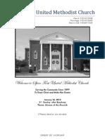 Spiro First United Methodist Church Worship Bulletin - January 24, 2010