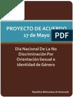 Proyecto de Acuerdo 17 de Mayo Dia de la No Discriminacion por Orientación Sexual e Identidad de Género en Venezuela