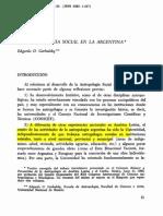 Garbulsky La Antropologia Social en La Argentina