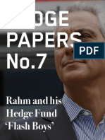 Hedge Paper No.7: Rahm and his Hedge Fund 'Flash Boys'