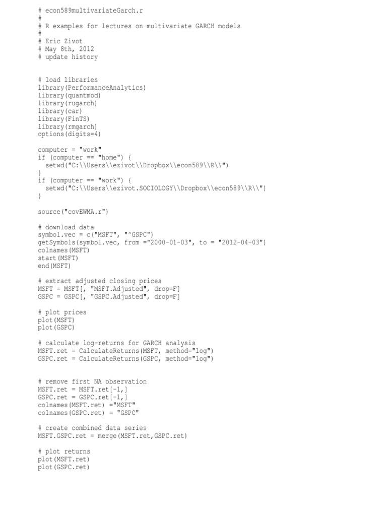 Econ589multivariateGarch r | Covariance | Data Analysis
