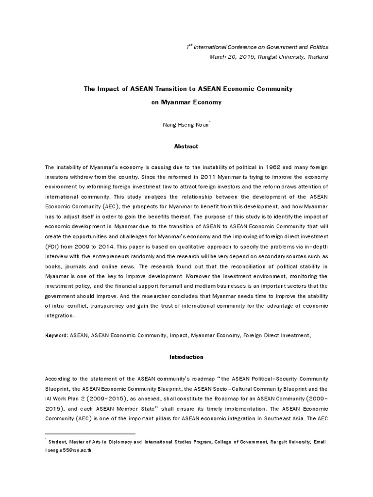 The impact of asean transition to asean economic community on the impact of asean transition to asean economic community on myanmar economy association of southeast asian nations myanmar malvernweather Image collections