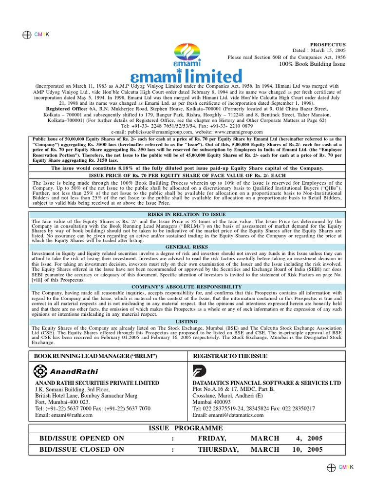 Emami limited 2005pdf stocks securities finance nvjuhfo Image collections