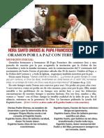 Hora Santa por la paz unidos al Papa Francisco y al Carmelo
