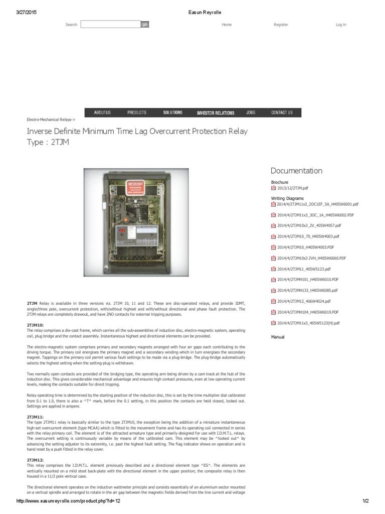 Easun Reyrolle Relay 2tjm12 Transformer Basic Operation Idmt