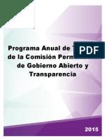 Programa anual de trabajo de la Comisión Permanente de Gobierno Abierto y Transparencia