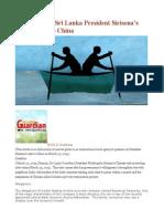 Comments on Sri Lanka President Sirisena's Maiden Visit to China