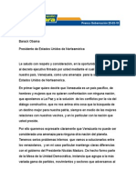 Carta de Henri Falcón a Barack Obama
