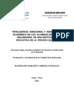 2011 Cabrera Inteligencia Emocional y Rendimiento Académico de Los Alumnos Del Nivel Secundario de Una Institución Educativa de La Región Call