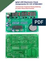 6 Digit Digital LED Clock AT89C2051 (Ckt only No source Code)
