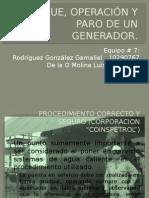 Arranque, Operación y Paro de Un Generador