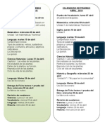Calendario de Pruebas Marzo-Abril 2015