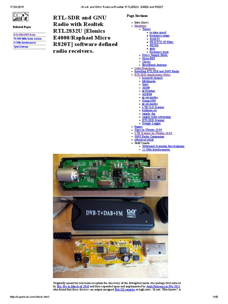 Rtl Sdr And Gnu Radio W Realtek Rtl2832u E4000 R820t Software Gbppr 1 Ghz Spectrum Analyzer Second Local Oscillator Schematic Defined Bandwidth Signal Processing
