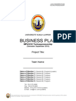 Business Plan UniKL Template - MPU3232 Sep2014