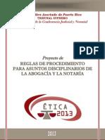 Proyecto de Reglas de Procedimieto Para Asuntos Disciplinarios Abogacía y Notaría (2013)