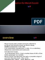 Dealers Perception for Maruti Suzuki