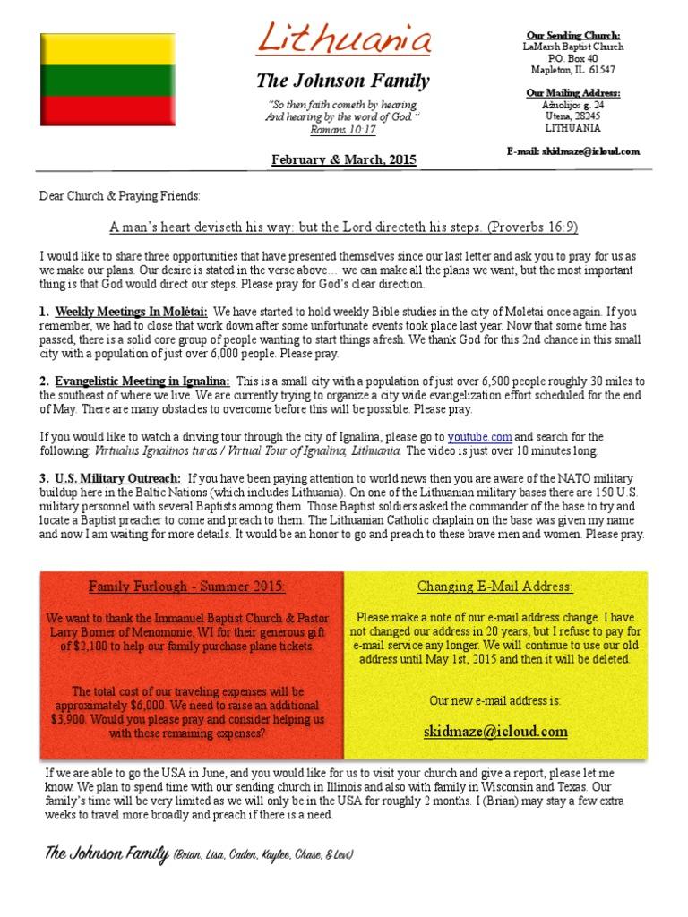 Lithuania - Johnson Family Ministry Update | Evangelism | Prayer