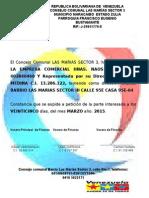 Carta de Residesadffncia Para Empresa Consejo Comunal Las Marias Sector III