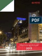 Memoria Institucional 2013 Metro Chile