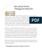10 Kesalahan Yang Umum Dilakukan Pengguna AutoCAD