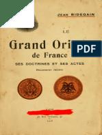 Le Grand Orient de France Ses Doctines Ses Actes