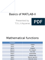 Basics of Matlab-II