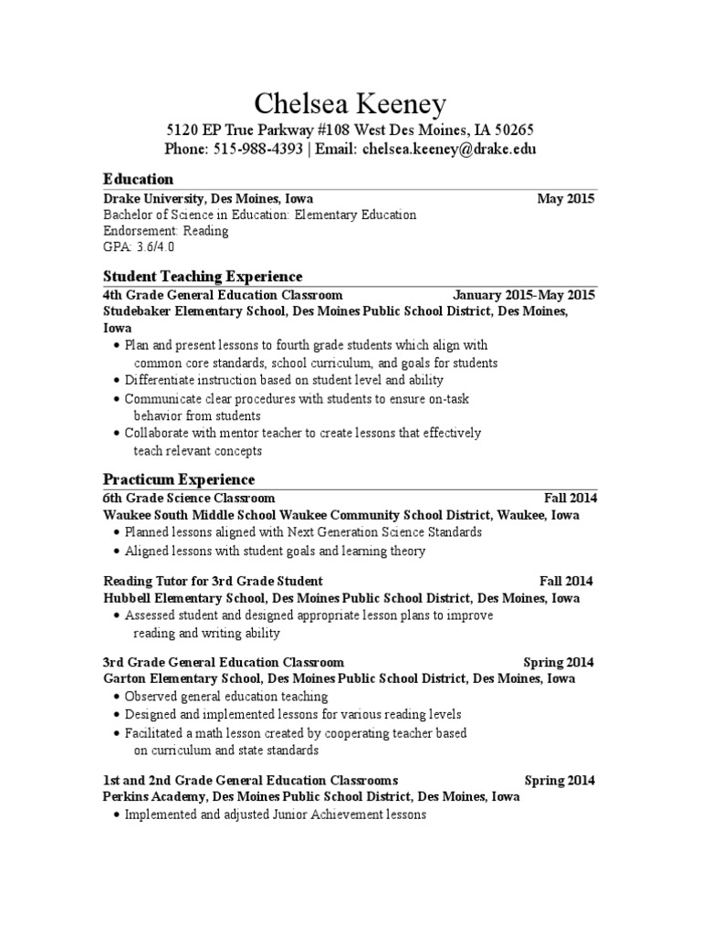 Resume Curriculum State School