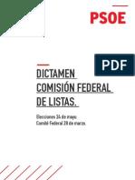 Dictamen de la Comisión Federal de Listas del PSOE para las elecciones del 24-M (PDF)
