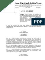 Lei 022-2014 - Dispõe Sobre a Criação de Empregos Públicos No Município de São Tomé