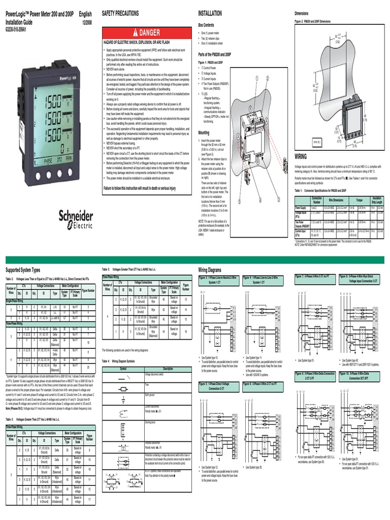 Installation Guide Pm200 Electrical Engineering Electricity Ct Shorting Block Wiring Diagram