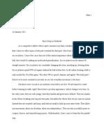 Body Part Reflective Essay