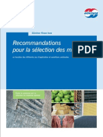 Guntner-Recommandations pour la sélection des Matériaux d'un évaporateur suivant les produits de la Chambre Froide