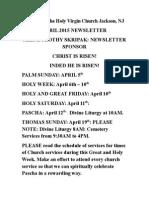 Nativity of the Holy Virgin Church - Newsletter - April, 2015