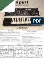 Crumar Spirit Owners Manual